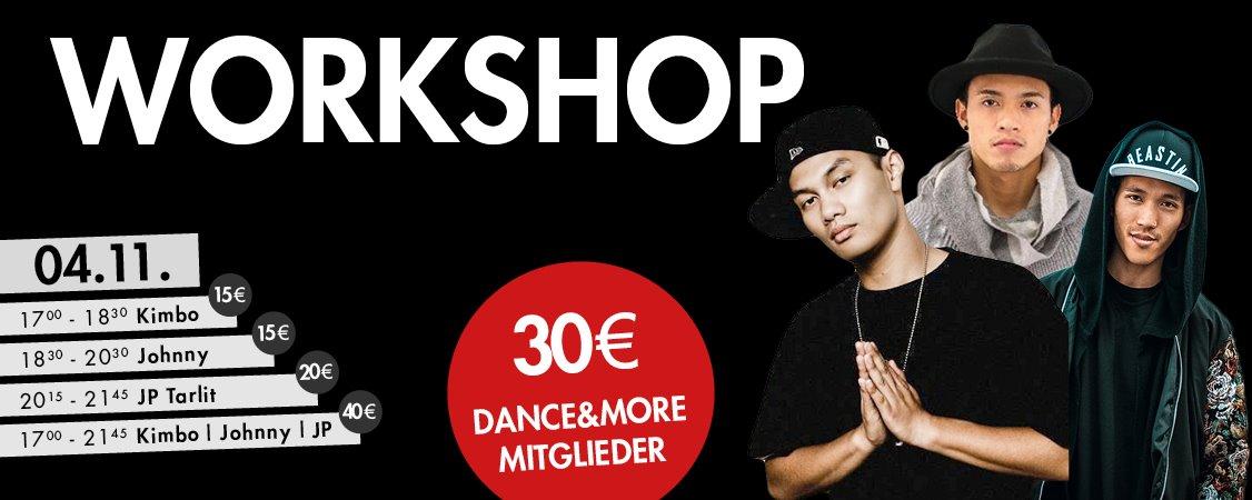 Workshop Hip Hop mit JP Tarlit (Kanada), Johnny Vongratsavai & Kimbo Tran (MINGAWZ / München)
